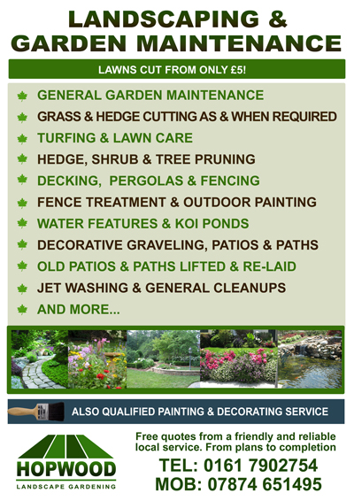 hopwood landscape gardening cover the following areas manchester leigh astley wigan little hulton kearsley farnworth little lever over hulton